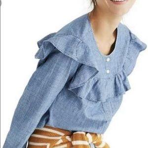 Madewell xxs chambray ruffle yoke blouse